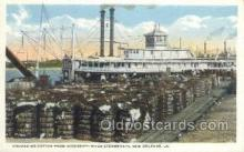 shi075196 - Unloading Cotton Off A Mississippi Steamboat, New Orleans, LA, USA Ferry Boats, Ship, Ships, Postcard Post Cards