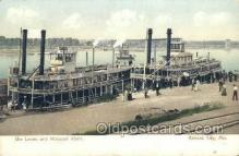 shi075222 - Mississippi River Levee Ferry Boats, Ship, Ships, Postcard Post Cards