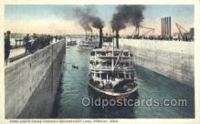 shi075258 - First Boats In Government lock Iowa, Keokik, Iowa, USA Ferry Boats, Ship, Ships, Postcard Post Cards
