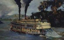 shi075283 - Old Fashioned Mississippi Stern Wheeler Ferry Boats, Ship, Ships, Postcard Post Cards
