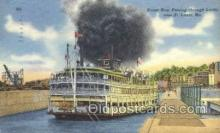 shi075304 - Steamboat Passing Through Locks Ferry Boats, Ship, Ships, Postcard Post Cards