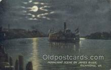 shi075458 - Moon Light Scene On James River Ferry Boats, Ship, Ships, Postcard Post Cards