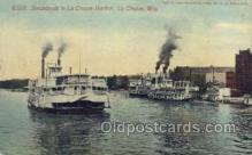 shi075505 - Steamboats La Crosse Harbor, La Crosse, Wis, USA Ferry Boats, Ship, Ships, Postcard Post Cards