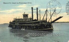 shi075513 - St. Joseph on Mississippi River, USA Steamer, Ship, Ships, Postcard Post Cards