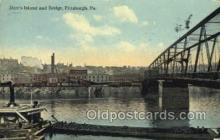 shi075607 - Herrs Island Bridge, Pittsburgh, PA, USA Steamer, Steam Boat, Steamboat, Ship, Ships, Postcard Post Cards