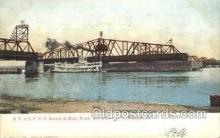 shi075664 - AT and SFRR Bridge, Ft. Madison, Iowa, USA Steamer, Steam Boat, Steamboat, Ship, Ships, Postcard Post Cards