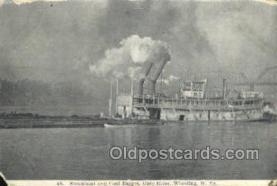 shi075726 - Steamboat And Coal Barge Ohio River Steamer, Steam Boat, Steamboat, Ship, Ships, Postcard Post Cards