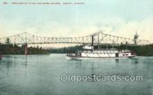 shi075763 - Willamette River And Bridge Ferry Boat, Ferries, Ship, Ships, Postcard Post Cards