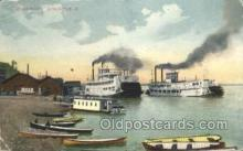 shi075777 - River Front Burlington Iowa Ferry Boat, Ferries, Ship, Ships, Postcard Post Cards
