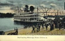 shi075793 - Boat Landing Mississippi River Ferry Boat, Ferries, Ship, Ships, Postcard Post Cards