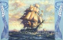 shi100127 - US Frigate Constitution Old Ironsides, Boston, Massachusetts, MA USA Sail Boat Postcard Post Card
