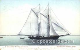shi100165 - Fishing Schooner, Gloucester, Massachusetts, MA USA Sail Boat Postcard Post Card