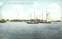 shi100324 - US Torpedo Station and Harbor, Newport, Rhode Island, RI USA Sail Boat Postcard Post Card