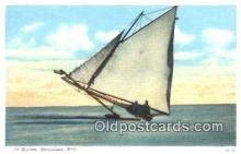 shi100332 - Ice Boating, Menominee, Michigan, MI USA Sail Boat Postcard Post Card