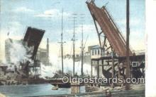 shi100361 - Bascule Bridge, Chicago, Illinois, IL USA Sail Boat Postcard Post Card