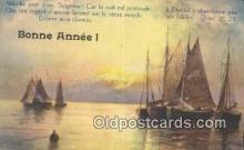 shi100417 - Bonne Annee Sail Boat Postcard Post Card