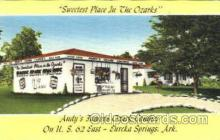 shp001001 - Sweetest Place in the Ozarks, Andy Famous Ozark Candies, Eurika Springs, Arkansas, USA Stores & Shops Postcard Postcards