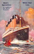 shp003005 - White Star Line Ship Postcard Old Vintage Steamer Antique Post Card