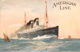 shp010057 - American Line Ship Postcard Old Vintage Antique Post Card
