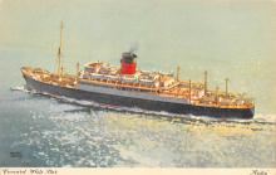shp010405 - White Star Line Cunard Ship Post Card, Old Vintage Antique Postcard