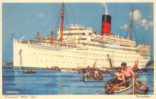 shp010601 - White Star Line Cunard Ship Post Card, Old Vintage Antique Postcard