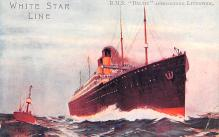 shp010649 - White Star Line Cunard Ship Post Card, Old Vintage Antique Postcard