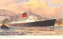 shp010719 - White Star Line Cunard Ship Post Card, Old Vintage Antique Postcard