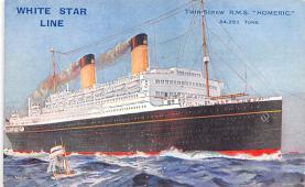 shp010819 - White Star Line Cunard Ship Post Card, Old Vintage Antique Postcard