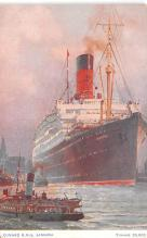 shp011005 - White Star Line Cunard Ship Post Card, Old Vintage Antique Postcard