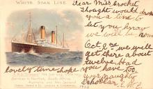 shp011225 - White Star Line Cunard Ship Post Card, Old Vintage Antique Postcard