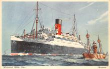 shp011319 - White Star Line Cunard Ship Post Card, Old Vintage Antique Postcard