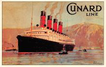 shpp006105 - Cunard Line Ship Postcard Old Vintage Steamer Antique Post Card