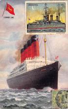 shpp007043 - Cunard Line Ship Postcard Old Vintage Steamer Antique Post Card