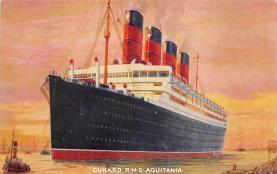 shpp007047 - Cunard Line Ship Postcard Old Vintage Steamer Antique Post Card