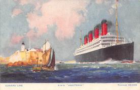 shpp007061 - Cunard Line Ship Postcard Old Vintage Steamer Antique Post Card