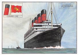 shpp007075 - Cunard Line Ship Postcard Old Vintage Steamer Antique Post Card