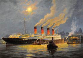 shpp007079 - Cunard Line Ship Postcard Old Vintage Steamer Antique Post Card