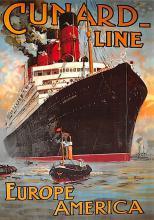 shpp007085 - Cunard Line Ship Postcard Old Vintage Steamer Antique Post Card