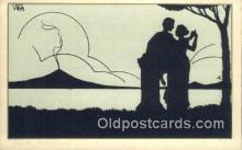 sit001043 - Silhouette Postcard Post Card Old Vintage Antique