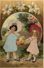 slk100001 - Easter Greetings, Silk Postcard Postcards
