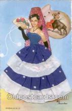 slk200015 - Bull Fighting, Dancing, silk postcard postcards