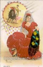 slk200024 - Bull Fighting, Dancing, silk postcard postcards