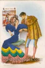 slk200025 - Bull Fighting, Dancing, silk postcard postcards