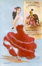slk200030 - Bull Fighting, Dancing, silk postcard postcards