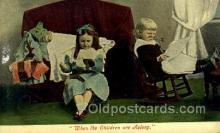smo001319 - When The Children are asleep Smoking Postcards Old Vintage Antique Post Cards