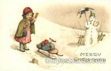 sno001052 - Merry Christmas Snowman Postcard Postcards