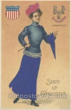stg002001 - Connecticut, USA Silk, State Girl Postcard Postcards