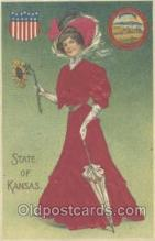 stg002007 - Kansas, USA Silk, State Girl Postcard Postcards