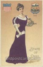 stg002009 - Ohio, USA Silk, State Girl Postcard Postcards