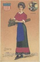 stg002011 - Illinois, USA Silk, State Girl Postcard Postcards